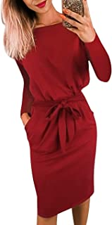 Women's 2020 Casual Long Sleeve Party Bodycon Sheath Belted Dress with Pockets