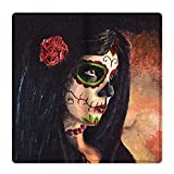 Customized Day of the Dead Sugar Skull Girl Leather Wallet With 11 Card Slots.
