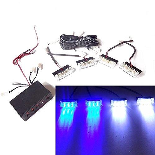 Viktion DC12V 5W 4 * 3 LEDs Feux de Pénétration Lumière Stroboscopique Eclairage Clignotant à 3 Modes pour Voiture Camion véhicule (Bleu & Blanc)