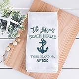 Personalized Beach House Kitchen Towel, Personalized Beach House Tea Towel, Family Name, Beach Kitchen Decor, Waffle Weave Towel, Coastal Gift, Beach Housewarming