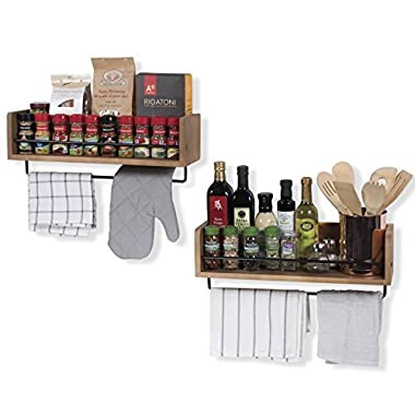 Set of 2 Rustic Kitchen Wood Wall Shelf with Metal Rail Also Multi Use Can Be Used As a Spice Rack Living Room or Bedroom Wall Shelf , Walnut Stained