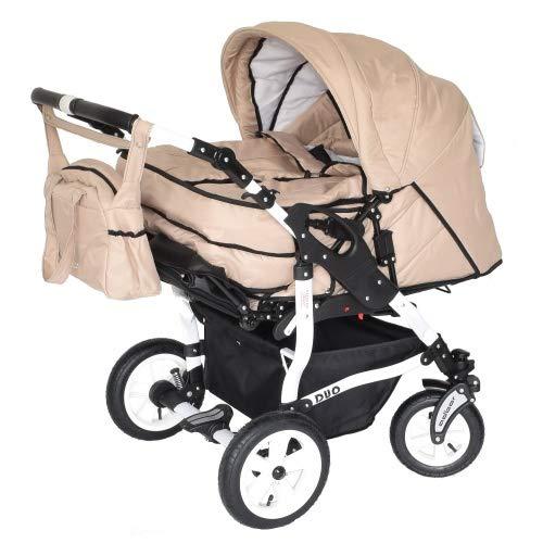 Adbor Duo 3in1 Zwillingskinderwagen mit Babyschalen - weißes Gestell, Zwillingswagen, Zwillingsbuggy Farbe Nr. 22w sand/sand