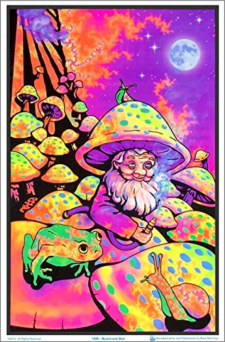 Mushroom Man Blacklight Velvet Flocked Poster Art Print (23x35)