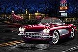 Rahmen-Kunst Imagen - Helen Flint : Red Corvette 66 Foto en Lienzo Corvette Carrito Deportivo Antiguo Culto Coches - 60x90