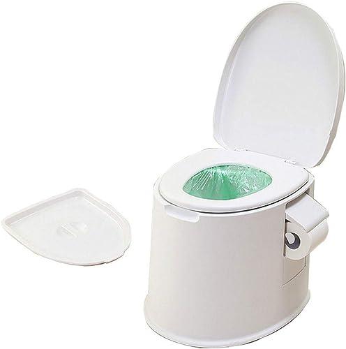 Toilettes Portables Pot Loo Camping Toilette LéGer Avec SièGe PoignéEs Rouleau Porte Flush Pot Commode Assainissement Approvisionnement Pour Caravane Pique-Niquer Festivals De PêChe