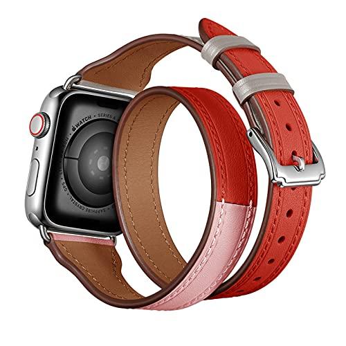 Correa Reloj para Apple Watch Series 1/2/3/4/5/6/SE Serie,Compatibilidad iWatch Correa de Reloj 38mm 40mm/42mm 44mm, Delgada Cuero Genuino Correa de Reloj con Hebilla de Acero Inoxidable,Red,38mm/40mm