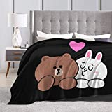 Cupaate Brown Bear and Cony in Love Ultra-Soft Micro Fleece Blanket Couch 50'' x40