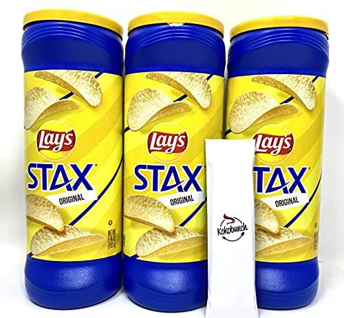 Lays Stax Chips Potato Crisp Original Flavors Snack Pack Chip Bundle with Kokobunch Kit | 3Pk- 5.75 oz