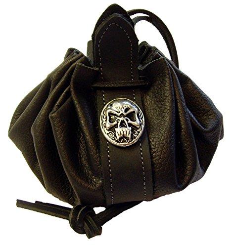 Lederbeutel Dukatenbeutel Geldkatze Farbe schwarz Nordic Skull