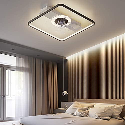 WHWVV Ventilador De Techo con Iluminación Regulable Lámpara De Techo LED para Dormitorio con Ventilador Doble Ultra Silencioso con Control Remoto para Lámpara De Esta,B Black White,52cm