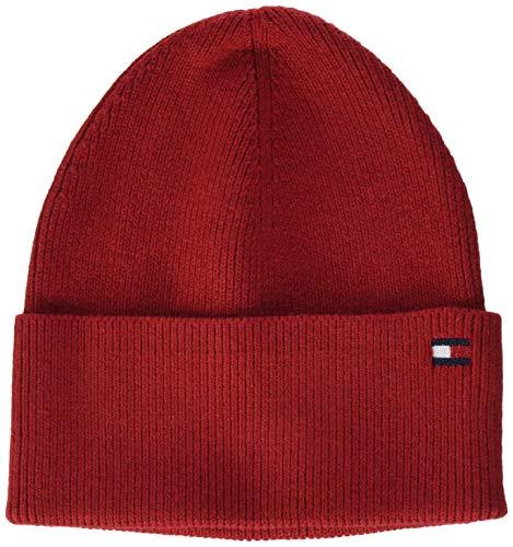 Tommy Hilfiger Essential Knit Beanie Gorro/Sombrero, Rojo De Arizona, OS para Mujer