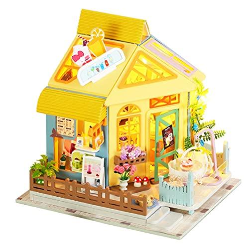DDyna Muebles de casa de muñecas Grandes Kits de construcción en Miniatura Kit de casa de muñecas DIY Roombox Villa Jardín Casas de Madera Juguetes