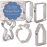 Ann Clark Cookie Cutters Juego de 5 cortadores de galletas vuelta al cole / agradecimiento a los maestros con libro de recetas, lápiz, tijeras, manzana, cera y rectángulo