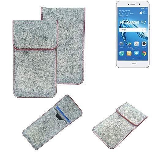 K-S-Trade® Handy Schutz Hülle Für Huawei Y7 Dual SIM Schutzhülle Handyhülle Filztasche Pouch Tasche Hülle Sleeve Filzhülle Hellgrau Roter Rand