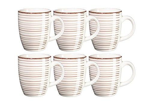 Mäser, Serie Bel Tempo, Kaffeebecher 39 cl, Keramik Geschirr im 6er-Set, in der Farbe Beige