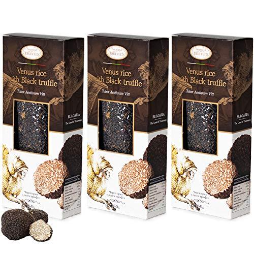 Black Venus Gourmet Rice Zwarte rijst met zwarte truffel Tuber Aestivum Black truffle Rijk aan antioxidanten, vezels, vitamine E, gezonde lichaamsbeheersing, 3 x 250 g