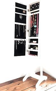 37 X 6,7 X 120 CM Blanc//Roux//Noir DREAMADE Armoire /à Bijoux Murale avec Miroir Magn/étique Armoire Suspendue de Rangement pour Boucles d/'Oreilles Bracelets Colliers avec 4 /Étag/ères