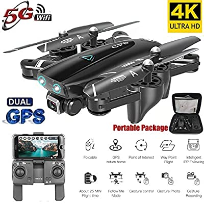 BeesClover S167 GPS Drone With Camera 5G RC Quadcopter Drone 4K WIFI FPV Foldable Off-Point Flying Gesture Photos Video Helicopter Toy 5G 4K 3 battery
