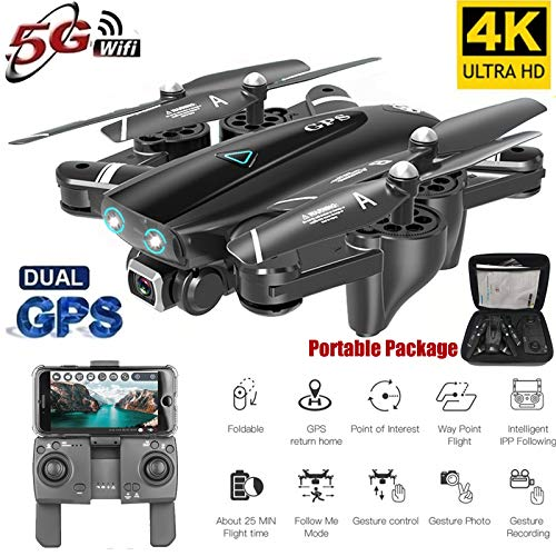 MeterMall S167 GPS Drone con cámara 5G RC Quadcopter Drone 4K WiFi FPV Plegable Off-Point Flying Gesture Photos Video Helicóptero de Juguete 2.4G 1080P 3 batería