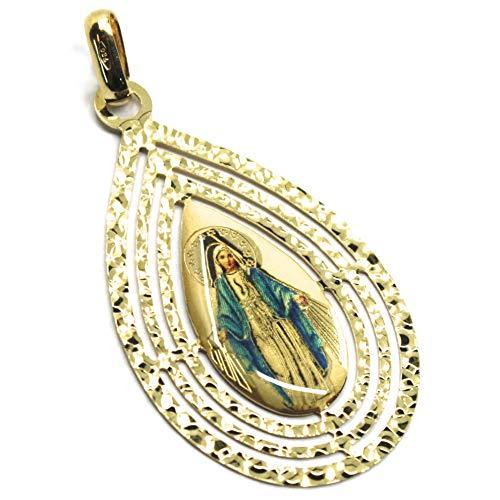 Generischer Anhänger MEDAGLIA, Gold Gelbgold 750 18 K, Vergine Maria MIRACOLOSA, Tropfenform, Dreifach-Bilderrahmen, Emaille
