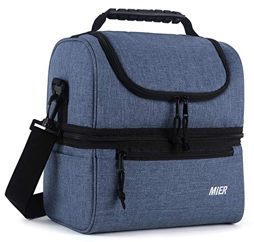 MIER Adult Lunch Box Insulated Lunch Bag Large Cooler Tote Bag for Men, Women, Double Deck Cooler (Bluesteel, Large)
