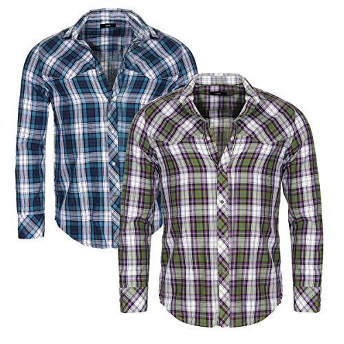Diesel - Camicia da uomo a maniche lunghe, a quadretti, vestibilità regolare verde, 5 gs. XXL