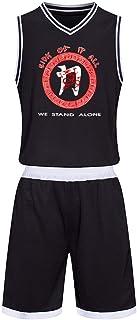 バスケットボールウェア 上下セット Sick Of It All バスケットボールユニフォーム Vネック ノースリーブ Tシャツ バスパン 練習用 バスケウェア バスケットボールジャージセット キッズ