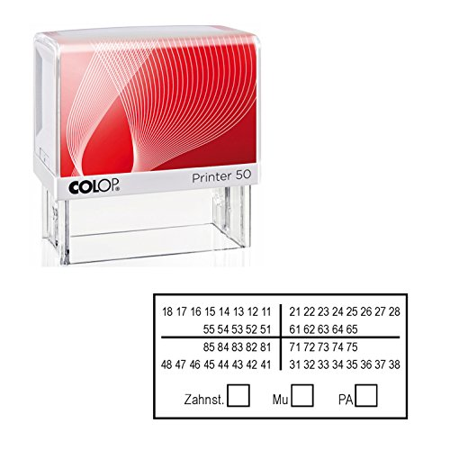 STEMPEL « ZAHNSCHEMA Z01 » 60 x 30 mm - integriertes Kissen - Zahnarzt Zahntechniker Arzt