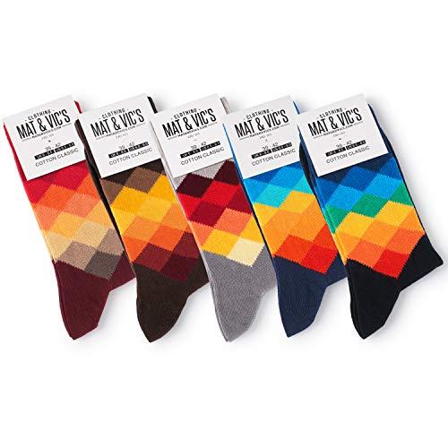 5 Paar Socken von Mat & Vic's für Sie und Ihn - Cotton classic Socks, gekämmte Baumwolle, ohne drückende Naht, Komfortbund, OEKO-TEX Standard 100, Diamond Mix 1, 43-46