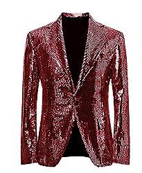 Burgundy/C Splendid Sequins Lapel Tuxedo Jacket