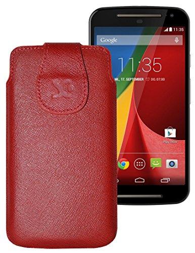Original Suncase Tasche für / Motorola Moto X 2014 (2. Generation) / Leder Etui Handytasche Ledertasche Schutzhülle Hülle Hülle / in vollnarbig-rot