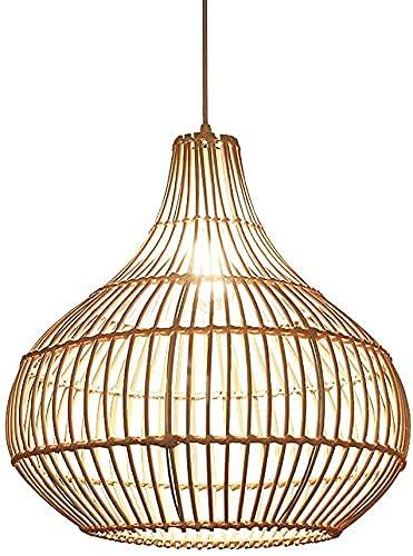 SFSGH Lámpara de Sombrero de Paja Tejida a Mano E27 Celosía Moderna Bambú Tropical Ratán Mimbre Ratán Lámpara Colgante de Techo Cama y Desayuno Dormitorio Lámpara Colgante Linterna Japon