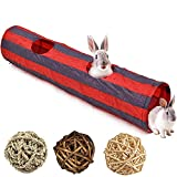 Tfwadmx Bunny Tunnel, Rabbit Tunnels and Tubes, Collapsible Hideaway Small Animal Activity Toys with...