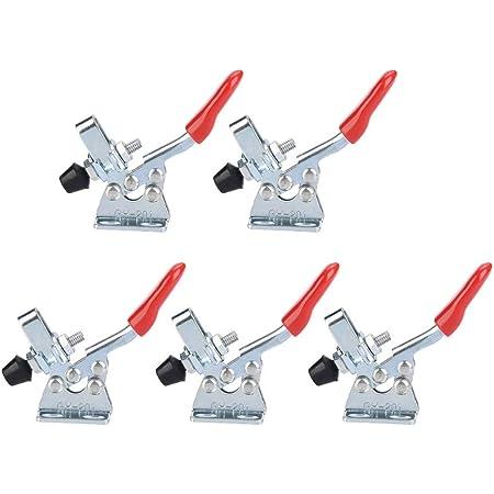 5pz Toggle Morsetto Toggle Clamp Morsetti Utensile a mano con pinza a morsetto 27 kg, Capacità di tenuta antiscivolo orizzontale a sgancio rapido, attrezzo a levetta per attrezzi pesanti 201(GH-201)