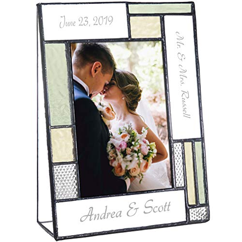 Wedding Picture Frame Personalized Gift for Couple Engraved Green Yellow Glass Table Top Photo Engagement Keepsake J Devlin Pic 430 EP619 (4x6 Vertical)