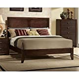 BOWERY HILL Modern Wood Queen Panel Bed Frame in Espresso with Headboard