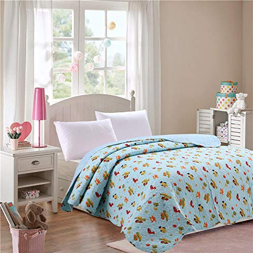 LDDPP Children's Cartoon Quilted Summer Thin Quilt, Cotton Printed Single Bed Sheet Quilt Coverlet Bedspread Bedding Set For Kids