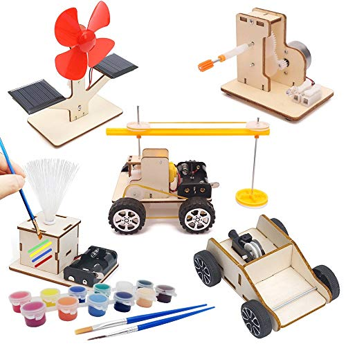 Energy Science Learning DIY Kits for Kids | 5 Styles Wooden Science Models Building Projects for Learn Energy Power Engineering - Solar Fan, Hand Crank Generator, Colorful Lights etc. (Energy 5 kits)