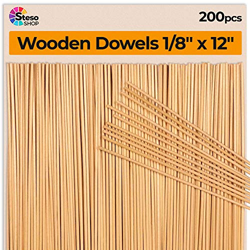 Holzstäbe Natur, 200 Stück 30 cm x 3 mm Ø lang, Ein beliebter Bastelartikel für Modellbau, Spiele, Kinder Handwerk, handgefertigt Geschenke