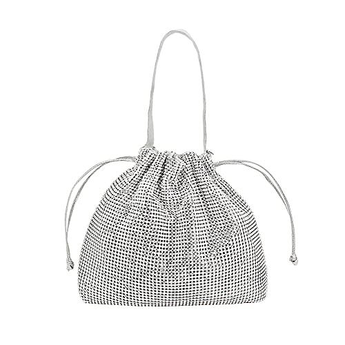 Frauen Strass Abend Abendessen Clutch Hochzeit Geldbörse Handtasche Münze Tasche Mini Handtasche (Silver,One Size)