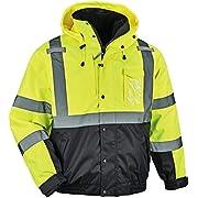 High Visibility Reflective Winter Bomber Jacket, Black Bottom, Zip Out Fleece Liner, ANSI Compliant, Ergodyne GloWear 8381, Lime, Large