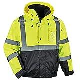 High Visibility Reflective Winter Bomber Jacket, Black Bottom, Zip Out Fleece Liner, ANSI Compliant, Ergodyne GloWear 8381, Lime, Extra Large