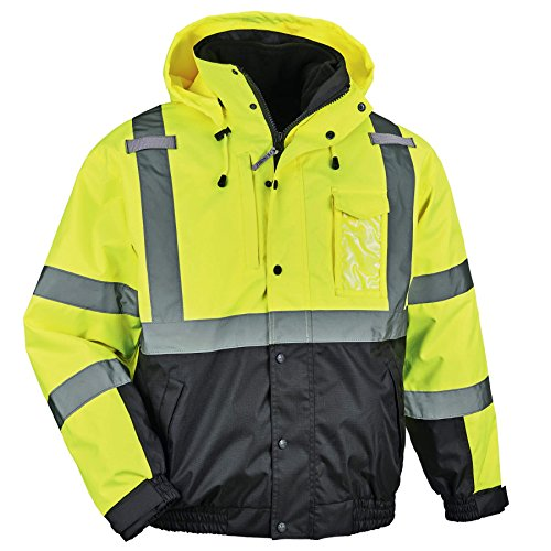 High Visibility Reflective Winter Bomber Jacket, Black Bottom, Zip Out Fleece Liner, ANSI Compliant, Ergodyne GloWear 8381, Lime, 2X-Large