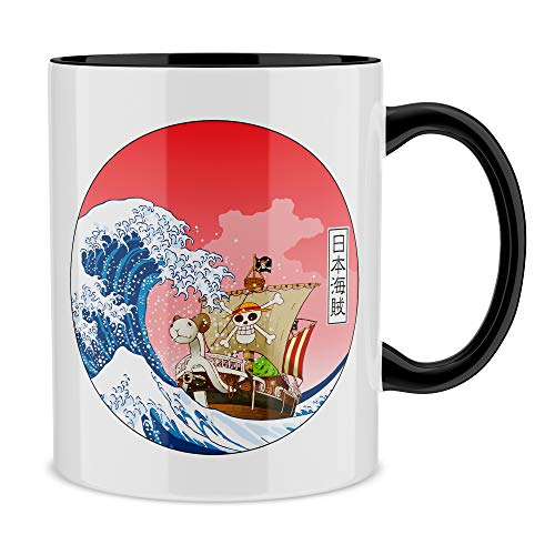 Okiwoki Mug Noir One Piece parodique La Grande Vague de Kanagawa et Le Vogue Merry : Pirates en mer du Japon. : (Parodie One Piece)