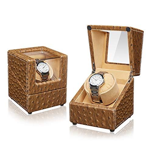 ワインディングマシーン 女性および人の手首のために適した5つの回転モードそして静かなモーターを搭載する自動単一の腕時計の巻取り機の木の黒いディスプレイ・ケース (Color : A)