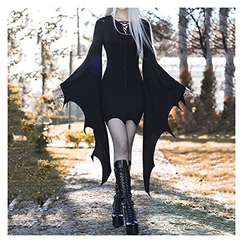 YAOLUU Ropa de Fiesta Disfraz de Cosplay de Vampiro de Bosque Medieval for Mujer Vintage gtico Sexy Vestido Delgado de Halloween Vestido de Fiesta de Carnaval Disfraz malefica (Size : Grande)