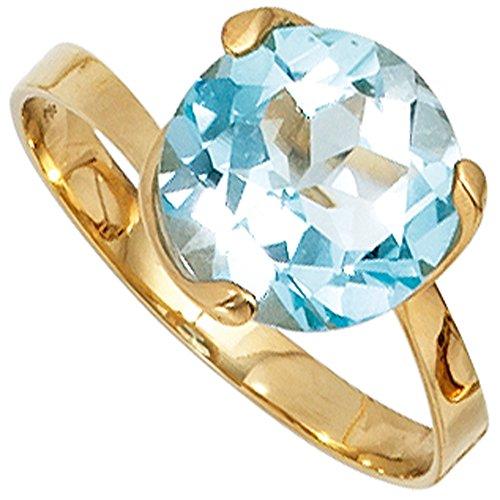 JOBO Damen-Ring aus 585 Gold mit Blautopas Größe 58