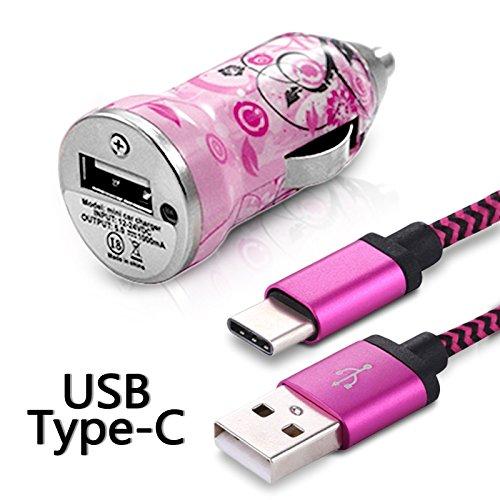 Karylax - Cargador de coche adaptador para encendedor de coche, cable USB tipo C, longitud 1 m, diseño HF17, cable USB tipo C para Samsung Galaxy A5 2017