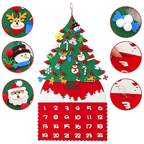 Arbre de Noël DIY Calendrier Calendrier de l'Avent Kit Feutre Tissu Compte à rebours Arbre avec 24 Poches de Jour et 24pcs Ornements pour Décorations de Noël