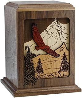 Silverlight Urns Mabrey, Soaring Eagle Inlay Wood Cremation Urn for Ashes, Adult Sized in Solid Walnut
